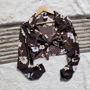 Vintage Floral Tie Front Crop Top